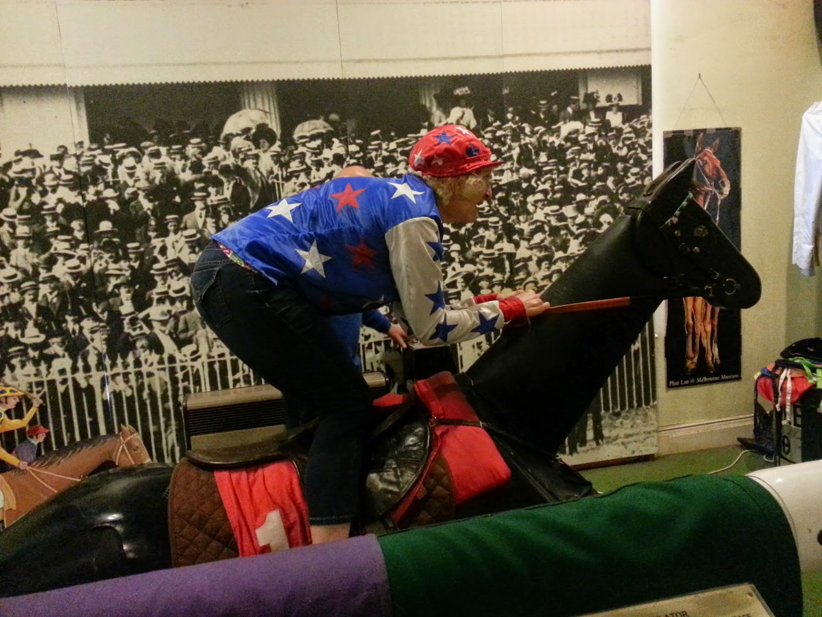 Riding replica horse at Newmarket's National Horse Racing Museum in England