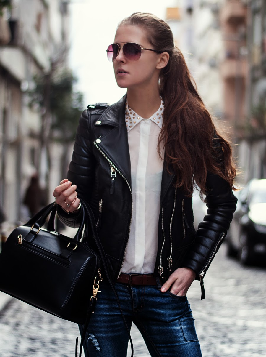 leather jacket outfit, streetstyle blogger istanbul, fashion blogger, studded collar blouse, neon rock, aviator glasses mango, leopard boots outfit