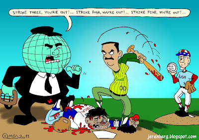syria bashar assad beating civilian with baseball bat world globe umpire un uncle sam america usa freedom ball strike three strike four strike five blood