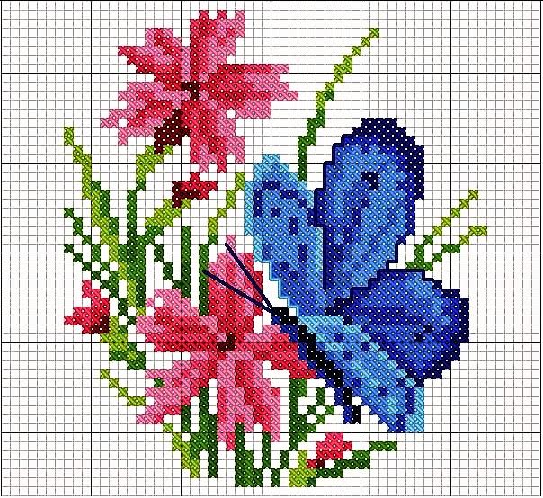 Schema punto croce bordo farfalle ele punto d cruz for Schemi punto croce farfalle