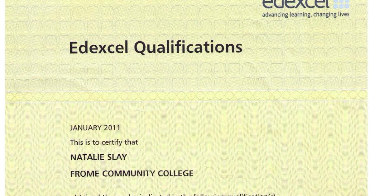 my curriculum vitae  gcse certificate  edexcel level 2