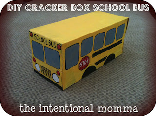 DIY cardboard cracker box school bus for toddler and preschool crafts