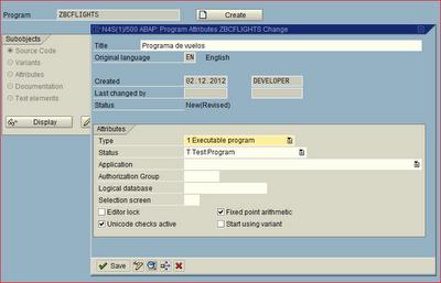 Atributos de programa ABAP