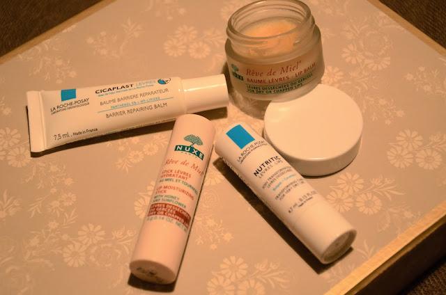 La Roche Posay and Nuxe lip balms