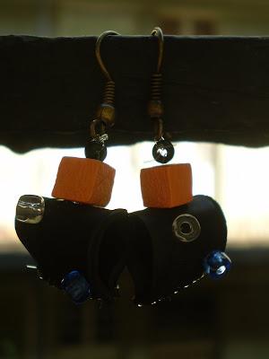 fülbevaló bicikli gumibelsőből gyöngyökkel