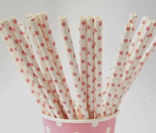 canudos de papel poá rosa