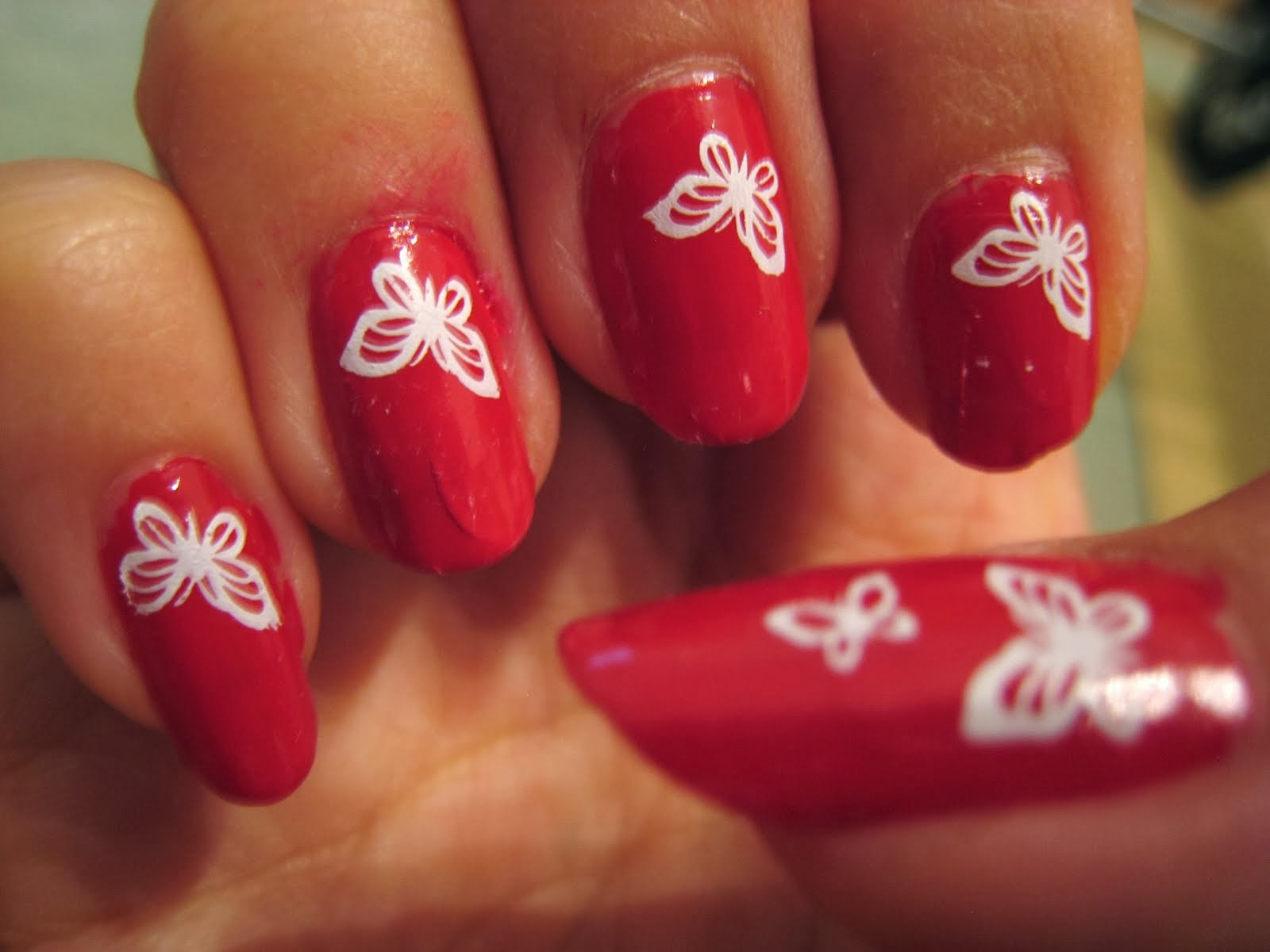 Butterfly Nail Art Designs With Dark Red - Stylpinch Beauty Arena
