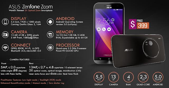 Asus Zenfone Zoom ZX550, Harga Asus Zenfone Zoom, Spesifikasi Asus Zenfone Zoom, Android Smartphone,