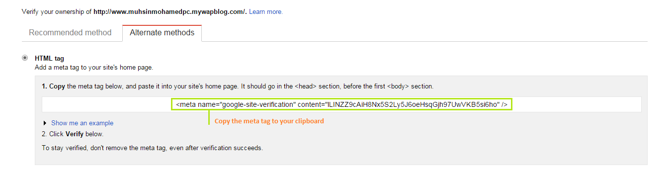 Meta Tag From Google Webmaster Tools