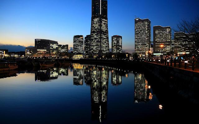 Atardecer en Yokohama Japón Paisajes de Ciudades