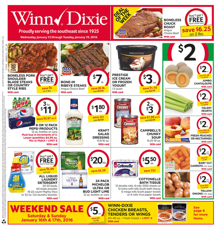 Winn Dixie Weekly Ad January 13 19 2016 Winn Dixie Weekly Ad