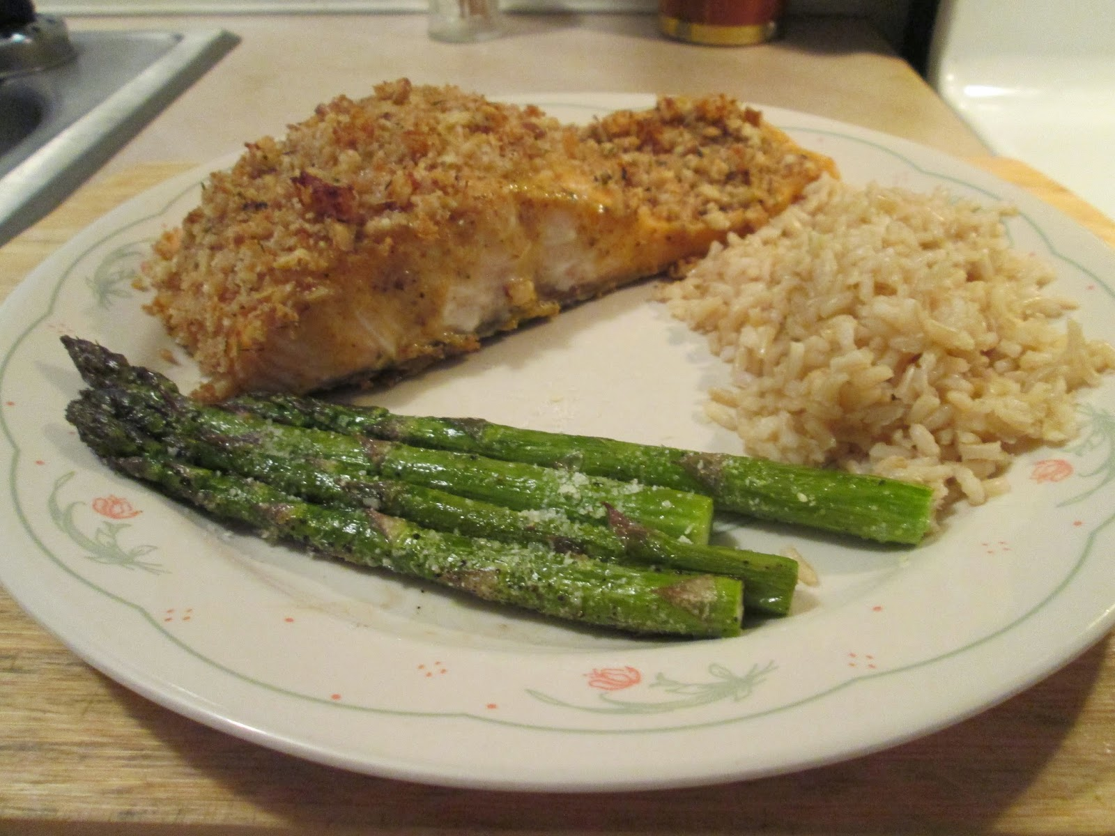 walnut crusted salmon w/ brown rice and asparagus
