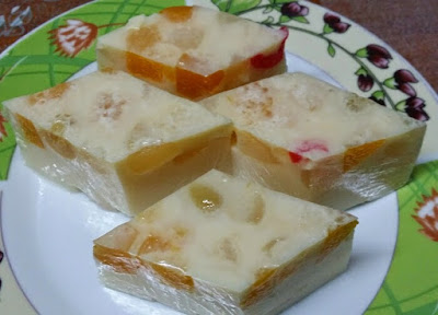 Puding Koktail Buah-Buahan Simple