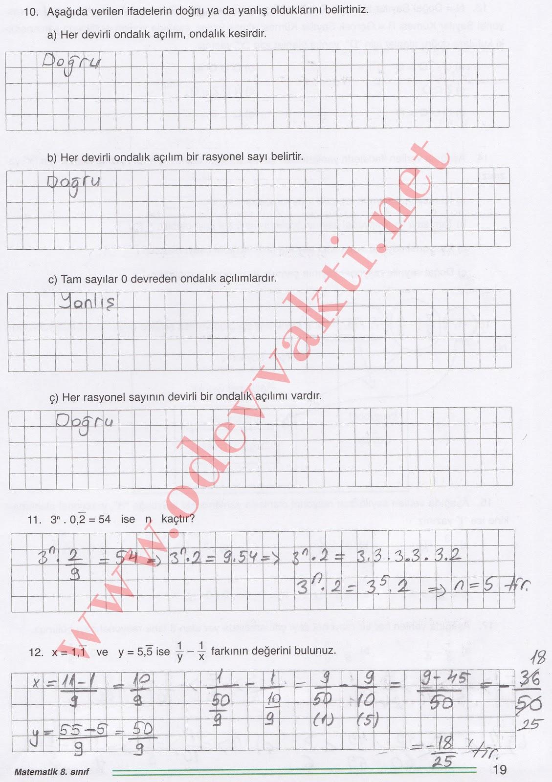 Kitabı cevapları oku 8 sınıf matematik çalışma kitabı