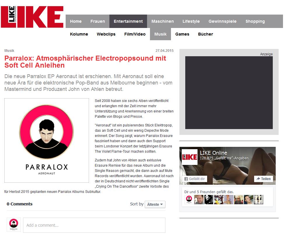 Like Online (Germany) reviews the new Aeronaut Album