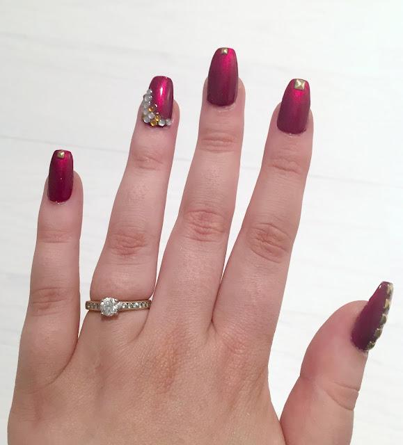 Party nails - nail designs - coffin nails - nail art - studs - gems - red nails - OPI - I'm not really a waitress - nail polish - at home - nail products