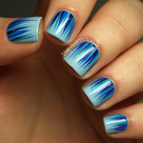 Blue Waterfall Nail Art The Nailasaurus Uk Nail Art Blog