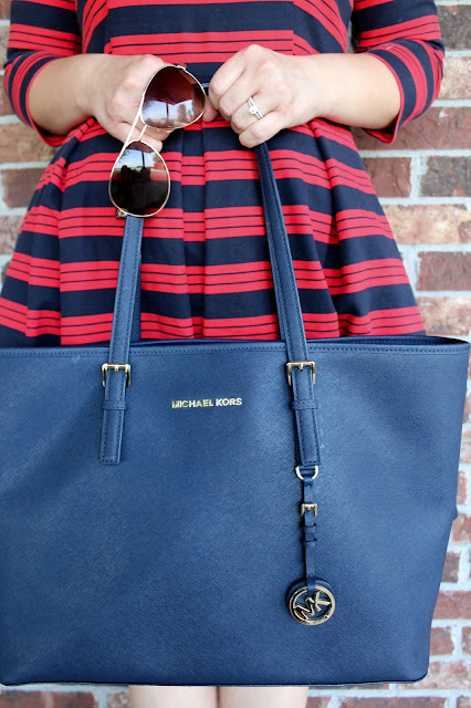 Michael Kors Navy Tote The Peacock Roost