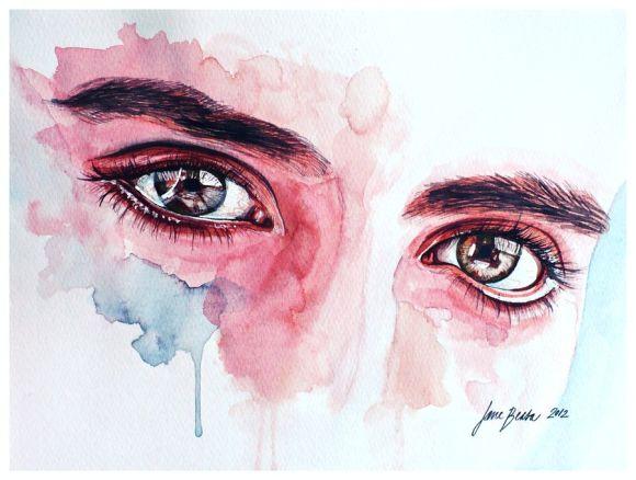 Jana Lepejova jane-beata deviantart pinturas aquarela mulheres olhares femininos Estudo de olhos em tom de pele