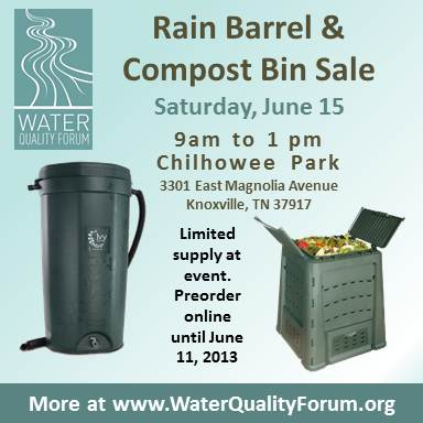 ok so once again the water quality forum is sponsoring a backyard compost bin and rain barrel sale on saturday june 15 that will allow residents to buy