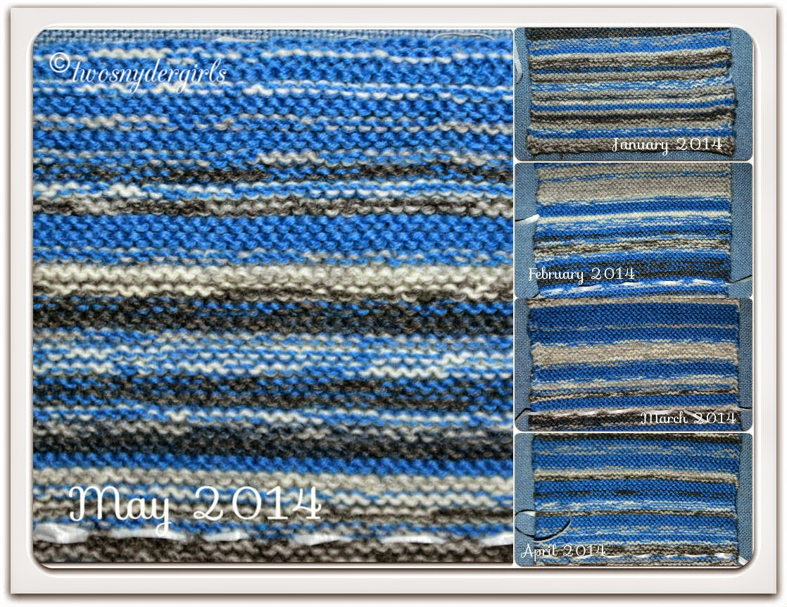 Collage of knitted representation of the May sky