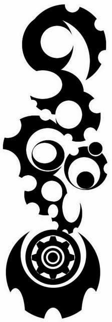 Tribal gears biomechanical (steampunk) tattoo stencil