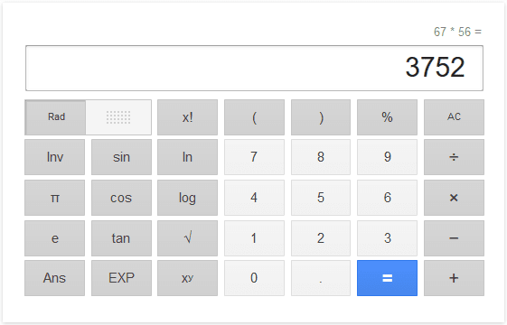 Calculator on Google search engine