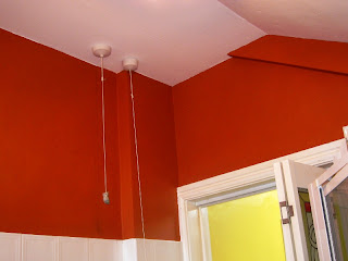 Freshly painted walls and ceiling