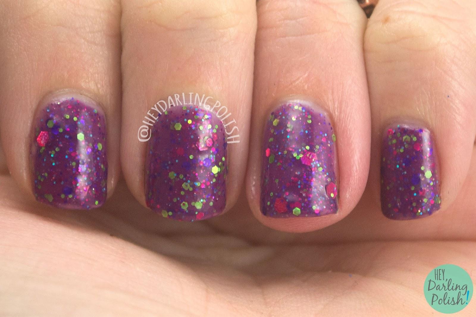 sugar plum faerie, nails, nail art, nail polish, indie nail polish, indie polish, kbshimmer, hey darling polish, swatch, review, purple, glitter,