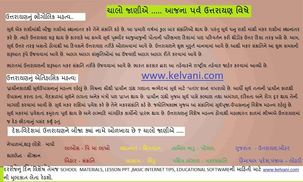 TODYAS HISTORY IN GUJARATI, DINVISHESH BY KELVANI, 14 JANUARY ABOUT IMPORTANCE OF UTTRAIN