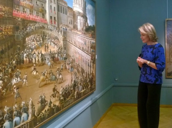 Queen Mathilde of Belgium visits the Nervia/Laethem-Saint-Martin exhibition at the Ixelles Museum Queen Mathilde wore Natan Dress, Earrings, shoes stylebops, perfect, net a porter sale