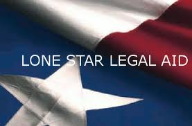 Logo of Lone Star Legal Aid, with name over Texas flag.