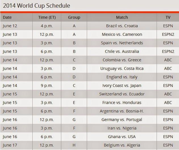 jadual perlawanan bolasepak piala dunia 2014 di brazil berikut jadual