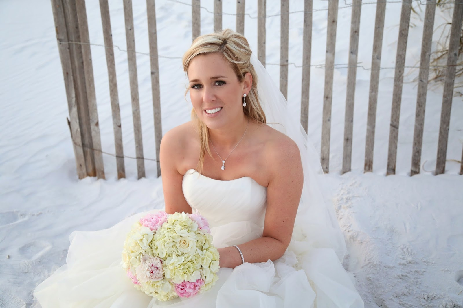 Bridal Bouquet of Pink peonies, hydrangea and white roses, Destin Beach Wedding Packages