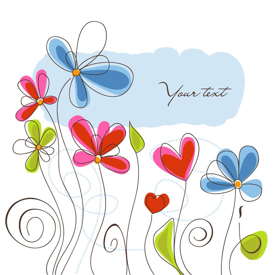 カラフルな手描きの花 Vector background Hand-painted flowers イラスト素材
