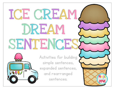 https://www.teacherspayteachers.com/Product/Ice-Cream-Dream-Sentences-2278237