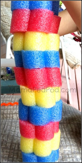 stack of pool noodle slices to make math patterns
