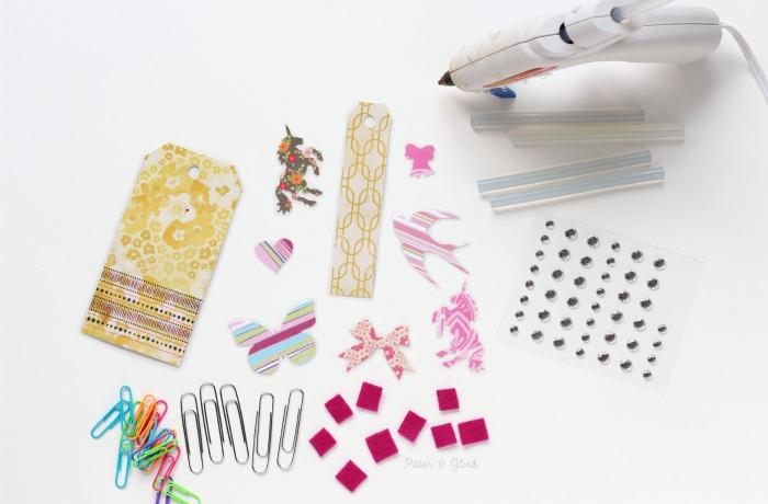 Supplies to assemble decorative handmade planner clips. www.pitterandglink.com