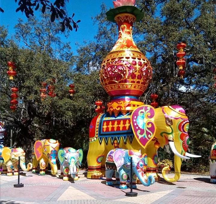 Beautiful elephant, Chinese lanterns.
