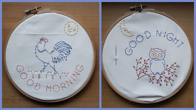 Goodmorning - Goodnight embroidery for a mugrug by Brodeuse Bressane