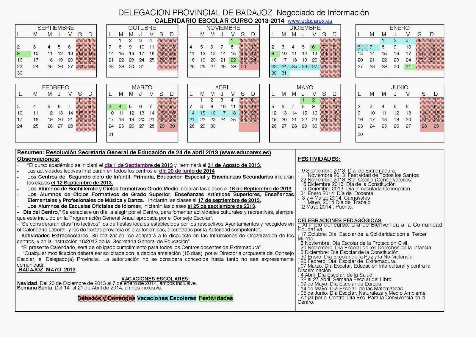 Calendario escolar (Fuente Educarex)