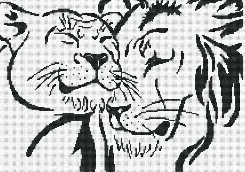 Вышивка крестом схема монохром лев
