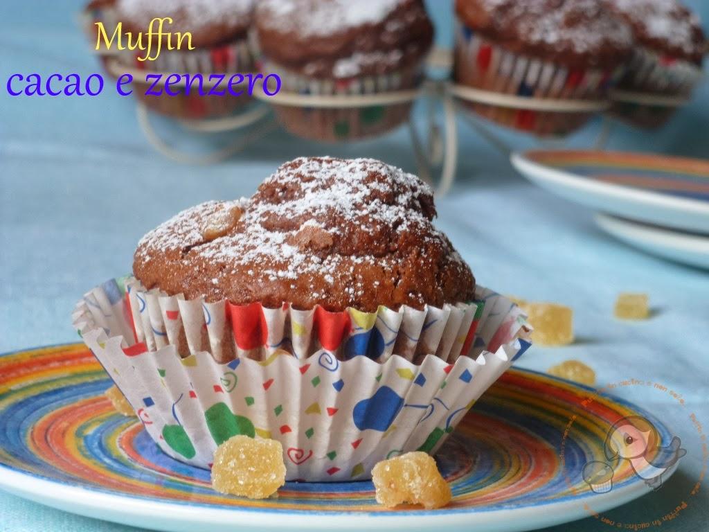 muffin con cacao e zenzero candito per una colazione con quel pizzico in più....