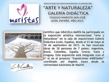 """Certificado de Participación """"Arte y Naturaleza Proyecto enREDadas"""""""
