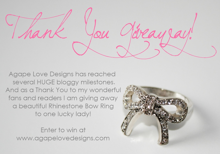 Agape love designs thank you giveaway this giveaway is open world wide however those outside us canada must be willing to pay shipping costs if selected to win the ring yadclub Images
