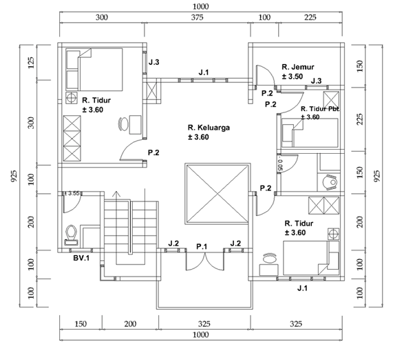 Denah Rumah 2 Lantai Luas Tanah 10x11 Meter Lantai 2