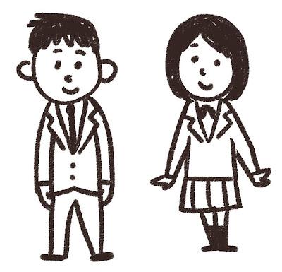 中学生・高校生のイラスト「ブレザー姿」 白黒線画