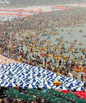 plaża, turyści, lato, morze