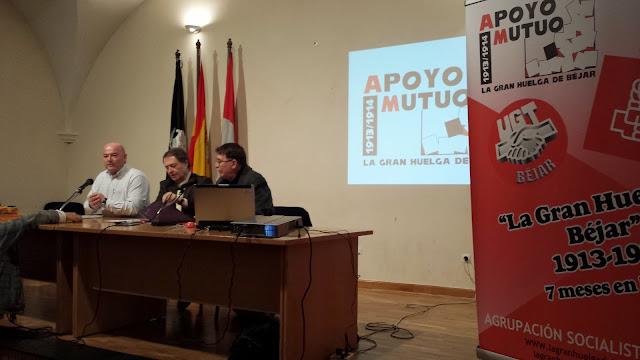 Javier Garrido, Carlos Palomeque y Cipriano gonzalez durante la presentación del acto