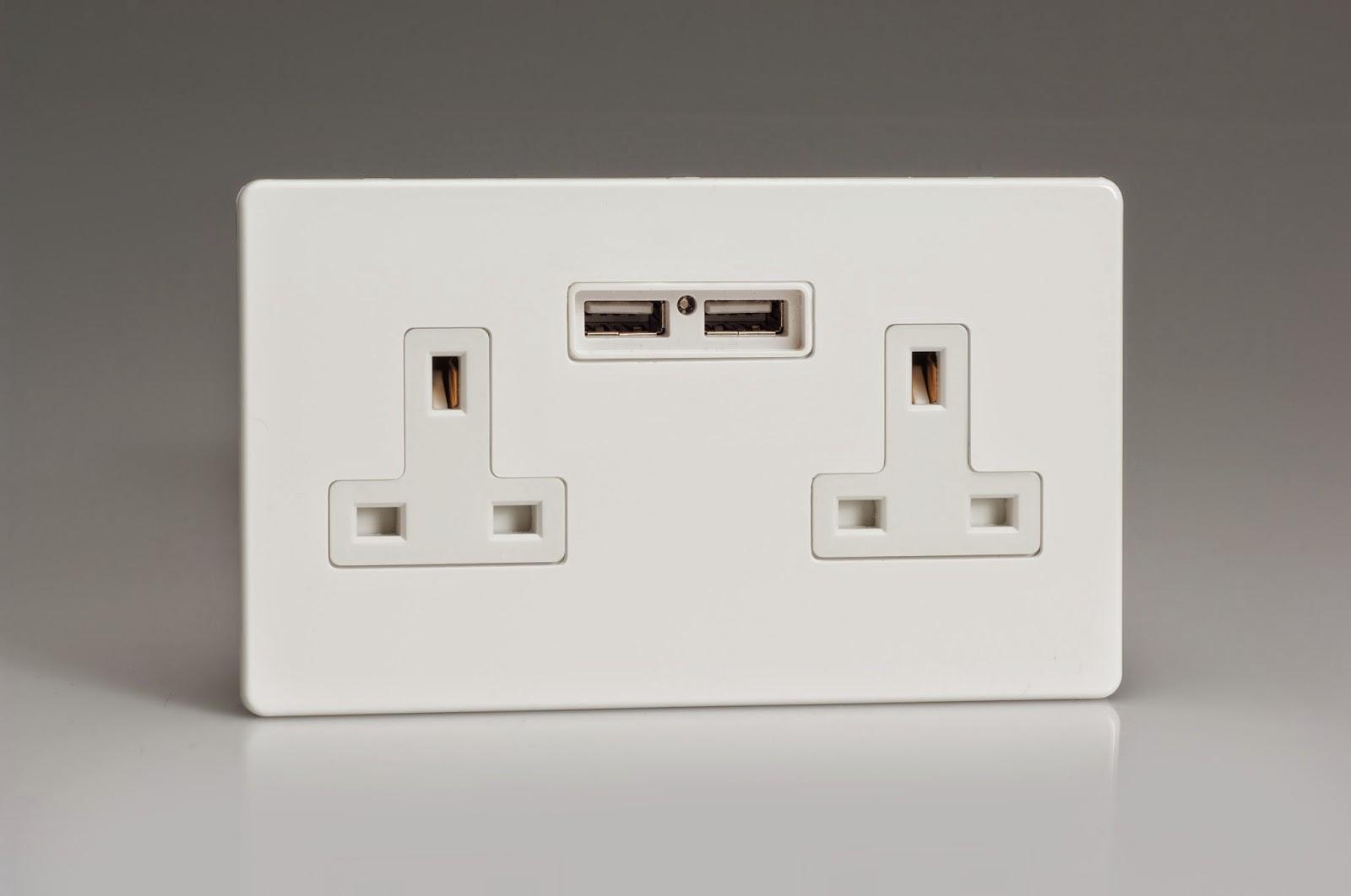 Varilight USB Charging Socket in Premium White Screwless